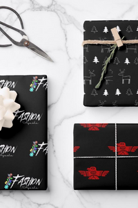 Christmas Fashion Ayasha Logo Thunderbird and Deer Wrapping Paper Sheets is a unique collection. This collection is designed to favor the bold tones of red, black, and white. Features a Fashion Ayasha logo, thunderbird, and hand-drawn deer and Christmas trees. Wrap your Christmas presents for your loved ones in this variety of Christmas wrapping paper.