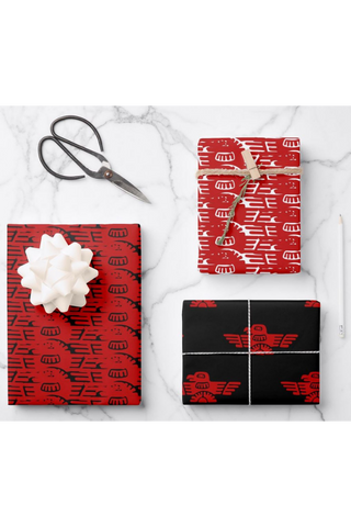 Christmas Native Thunderbird Gift Wrapping Paper Sheets