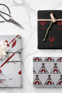 Christmas Native Tipi Flower Pipe Black and Red Wrapping Paper Sheets