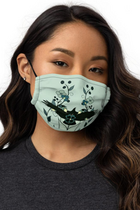 Eagle Ojibwe Teal and Black Floral Premium Face Mask
