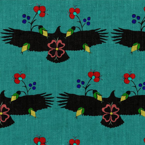 Eagle With Flowers Turquoise Fabric