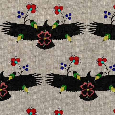 Eagle With Flowers White Fabric