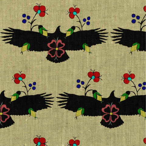 Eagle With Flowers Yellow Fabric