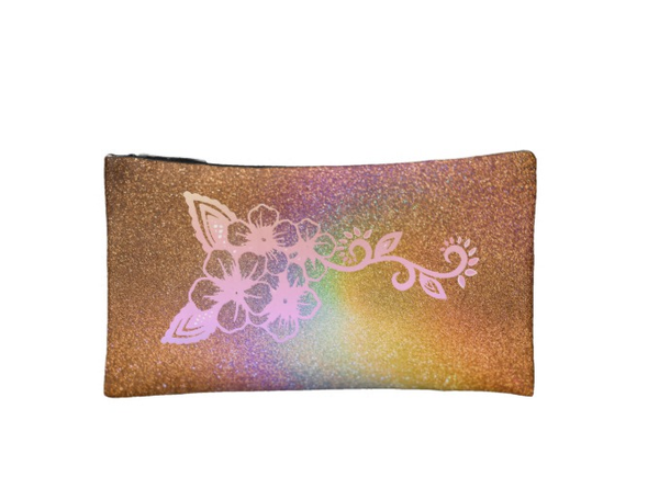 Feathers and Flowers Cosmetic Makeup Bag
