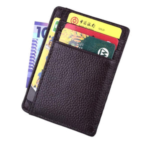 Genuine Leather Slim Minimalist Front Pocket RFID Blocking Leather Wallets for Men Women
