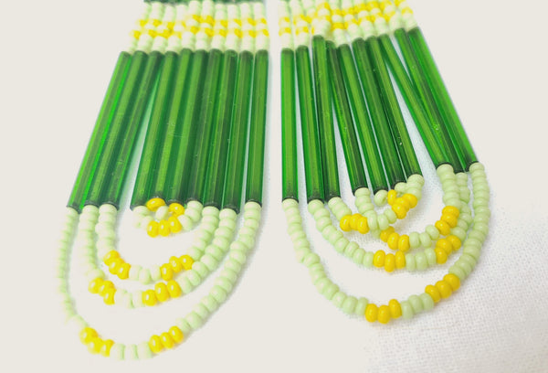Green Native American Drop Earrings