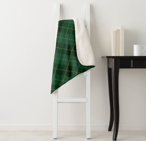 Green Tartan Plaid Sherpa Blanket