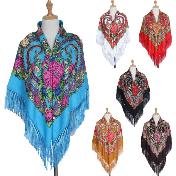 HOT Sale Brand Big Size Square Russian Scarf Cotton Long Tassel Scarf Spring Winter Shawl Women Floural Female Pashmina Cape Lic