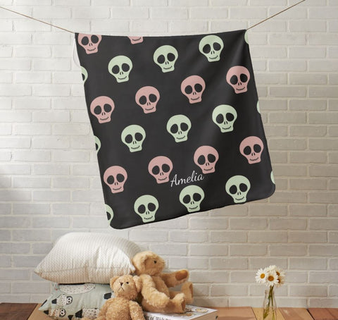 Halloween Pink and Green Skeletons Baby Blanket