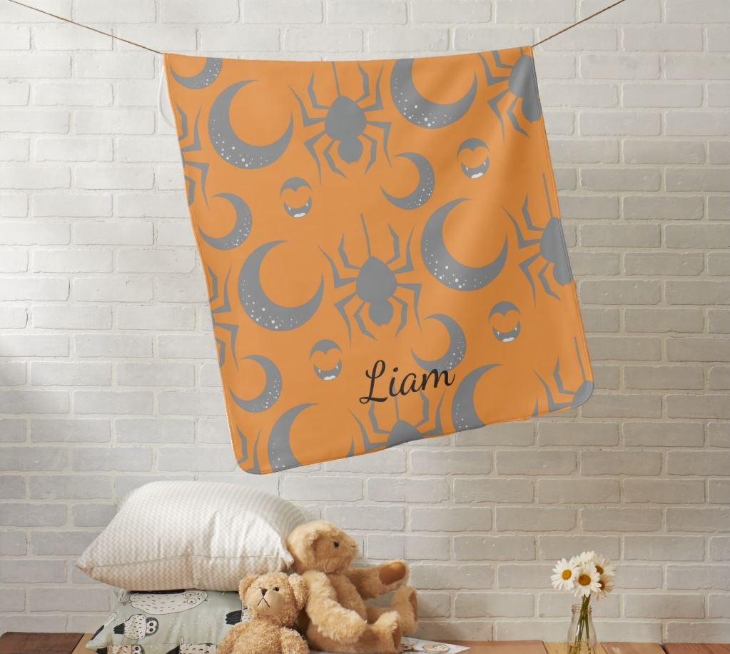 Halloween Spiders and Moons Baby Blanket