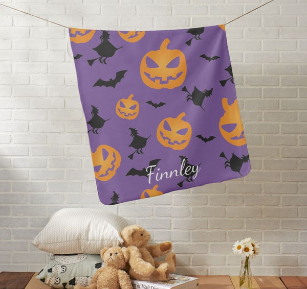 Halloween Witches Bats Pumpkins Baby Blanket