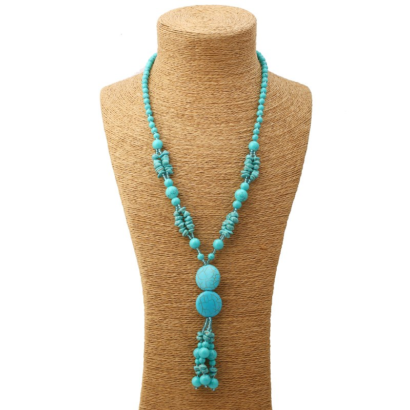 Horsewhip Turquoise Beaded Necklace