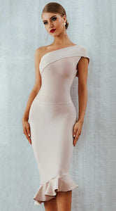 Sleeveless One Shoulder Evening Dress