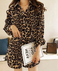 Plus Size Leopard Print Long Sleeve Blouse