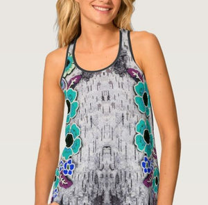 Floral Turquoise Birch Women's Tank Top