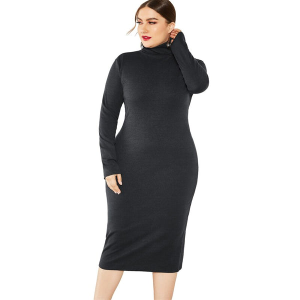 Long Sleeve Black Womens Plus Size Dress