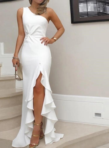 Elegant One Shoulder Formal Evening Gown with Ruffle