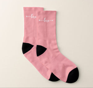 Love Heart Arrow Pink Socks