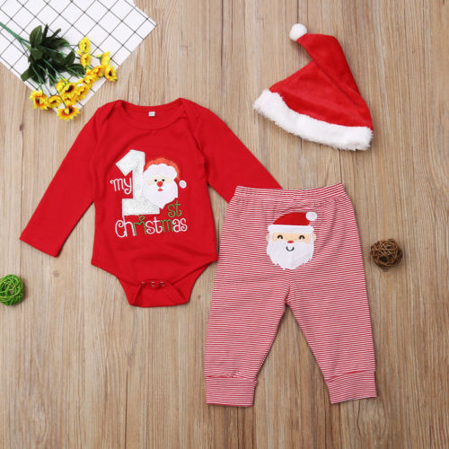 3 Pc Baby First Christmas Outfit