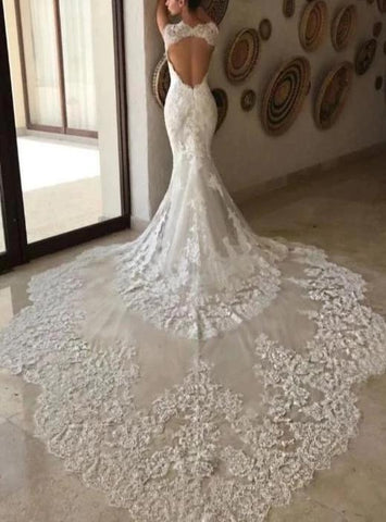 Beaded Long Tail Mermaid Wedding Dress