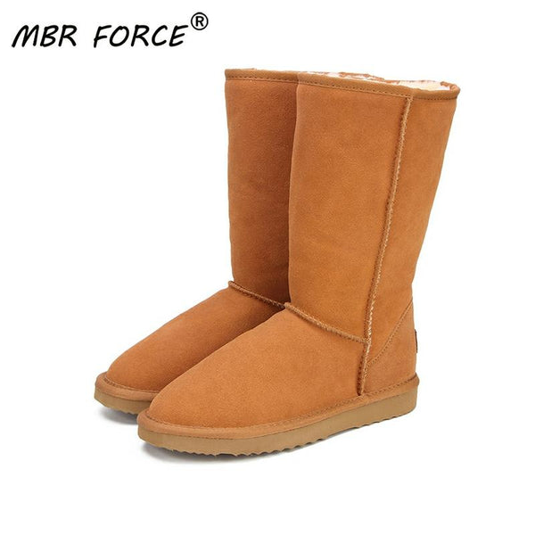 MBR FORCE Genuine leather Fur Snow boots women Top High quality Australia Boots  Winter Boots for women Warm Botas Mujer 1