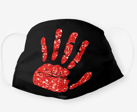 MMIA Jeweled Red Hand Black Cloth Face Mask