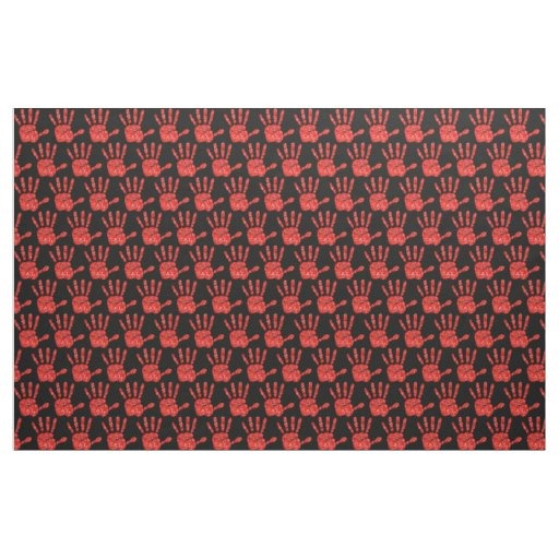MMIW Red Hand Jeweled Pattern Black Fabric