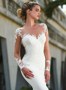 Mermaid Wedding Dresses Lace Applique Bridal Dress