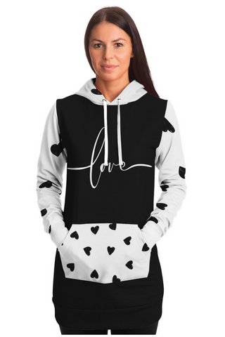 Modern Script Love Hearts Black and White Hoodie