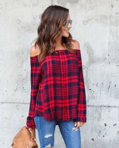 Sexy Off the Shoulder Plaid Women's Blouse