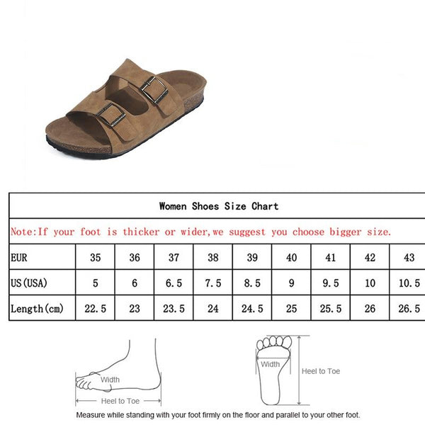 size chart for women's sandals