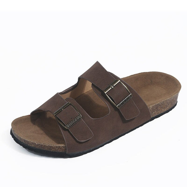 dark brown women's slide sandals