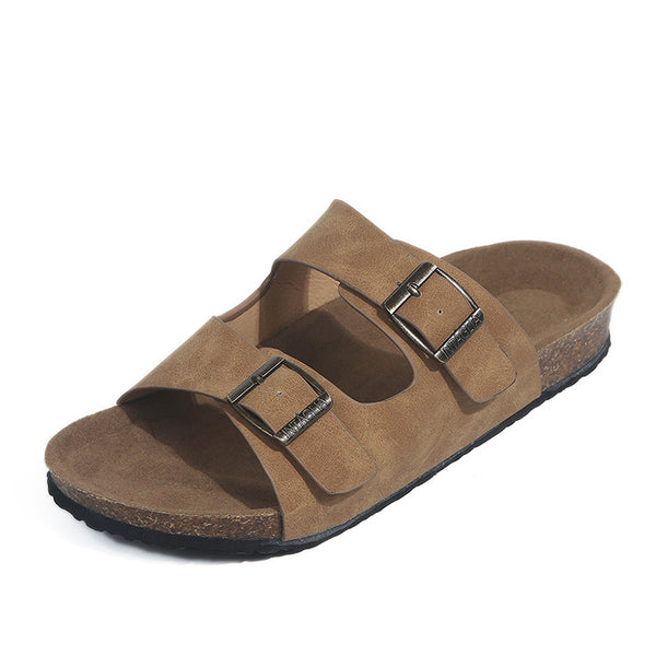 light brown women's slide sandals
