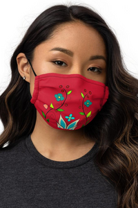 Ojibwe Floral Red Premium Face Mask