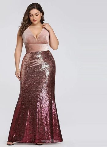 Elegant Plus Size Mermaid Evening Dress