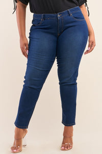 Plus Size Low-mid Rise Straight Cut Denim Jeans
