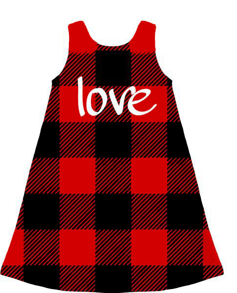 Red and Black Check Plaid Love Children's Dress - https://www.ayashaloyadesigns.com/products/red-and-black-check-plaid-love-childrens-dress?variant=21193441050688