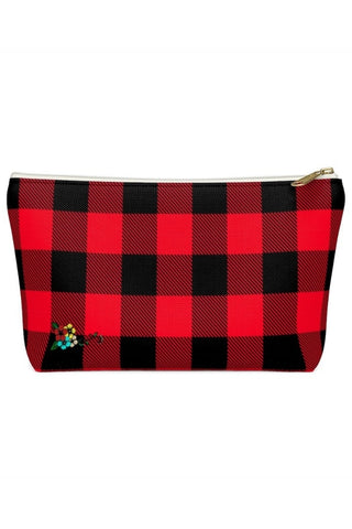 Red and Black Buffalo Check Plaid Makeup Beauty Accessory Pouch w T-bottom