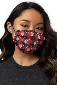 Red and Black Buffalo Check Plaid Ojibwe Floral Pattern Premium Face Mask
