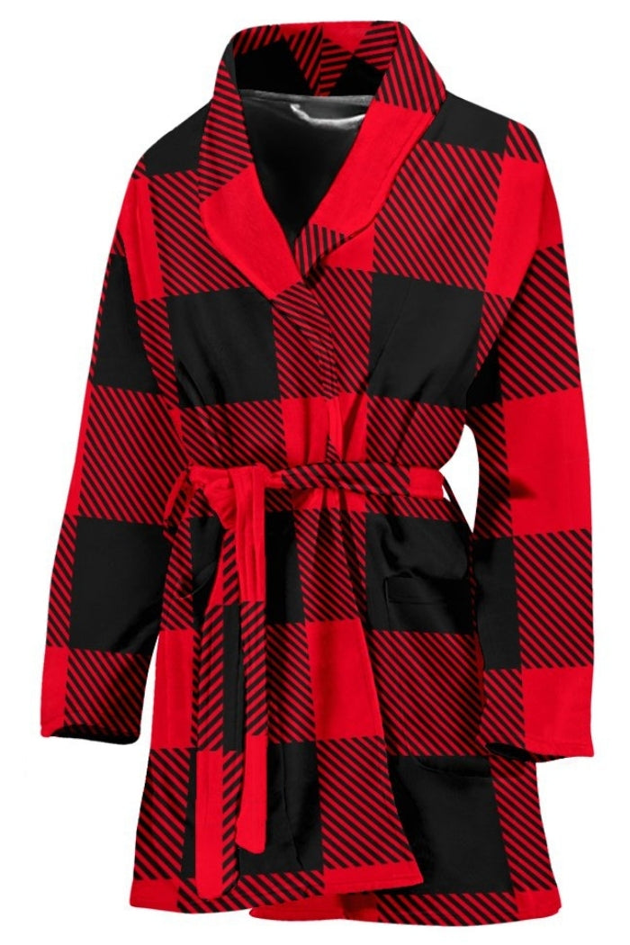Red and Black Buffalo Check Plaid Women's Bath Robe