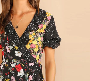 Cute Polka Dot Floral Dress