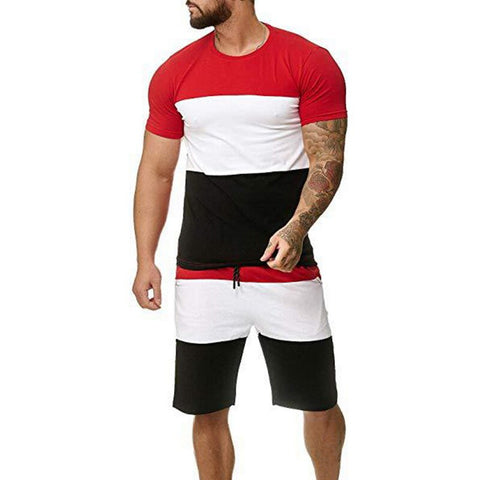 mens red and black jogging suit