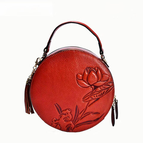 Genuine Leather Flower Round Handbag Brown Red by Ayasha 1