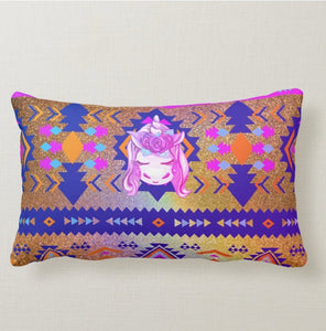 Unicorn Native American Pattern Cotton Girls Lumbar Pillow