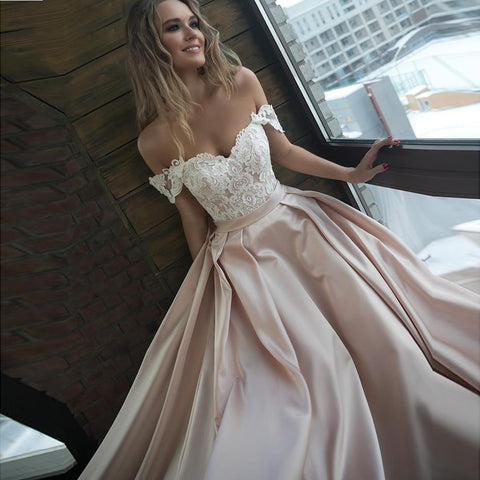 Romantic Lace Off the Shoulder Wedding Gown