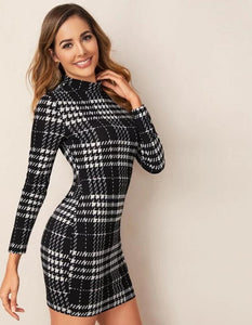 Elegant Tartan Black and White Plaid Dress