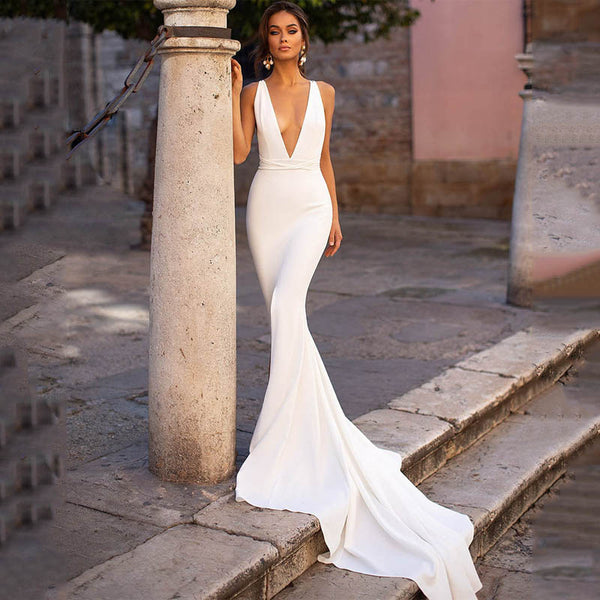 Sleeveless White Wedding Dress