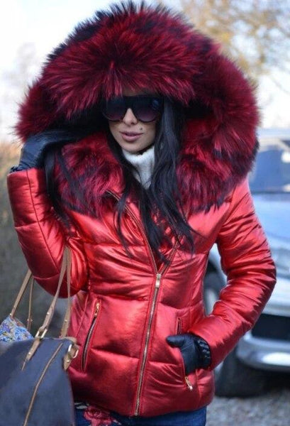 Stylish Woman Fur Hooded Long Sleeve Thick Full-Zip Hooded Puffer Coat