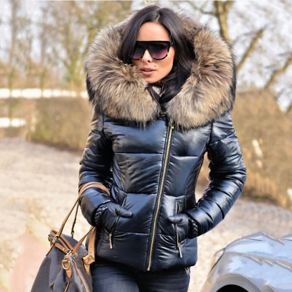 Stylish Woman Fur Hooded Long Sleeve Thick Coat