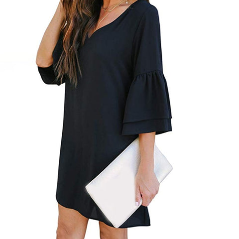 Women's Dress Sweet & Cute V-Neck Bell Sleeve Shift Dress Mini Dress